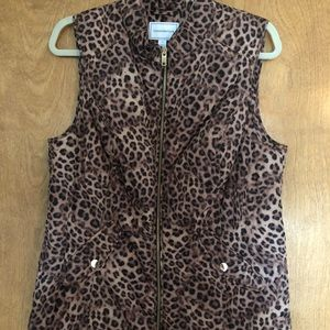 Charter Club Vest quilted, animal print